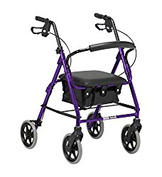 Robust lightweight aluminium 4 wheel rollator walker