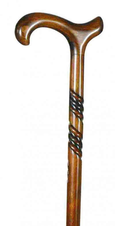 Everyday Gents Walking Stick Carved Wood Derby Handle Cane