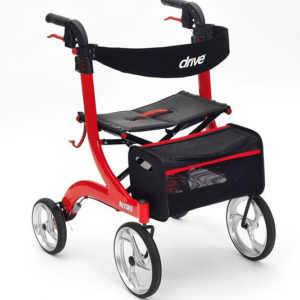 drive red nitro 4 wheeled rollator walker