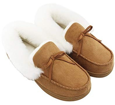 A pair of fur lined slippers