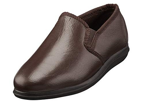 Clifford James Men's Brown Leather Chester Slippers