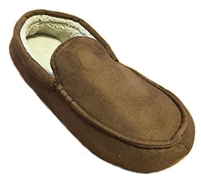 Dearfoams Men's Microfiber Suede Moccasin with Decorative Stitch Memory Foam Slippers