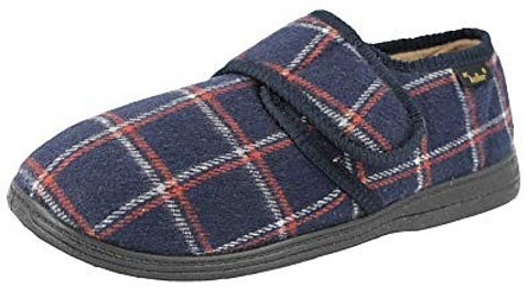 Dr Keller Men's Tartan Check Wider Fitting Memory Foam Slippers