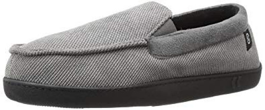 isotoner Men's Diamond Corduroy Moccasin Slippers