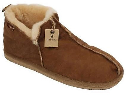 Men's Boot Style Sheepskin Slipper With Antique Leather Finish