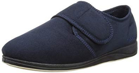 Padders CHARLES Mens Microsuede Touch Fasten Wide (G) Fitting Navy Slippers