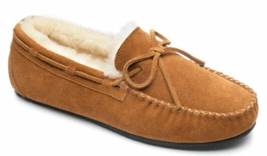 Peter Werth Newman Mens Genuine Sheepskin Suede Moccasins Slippers