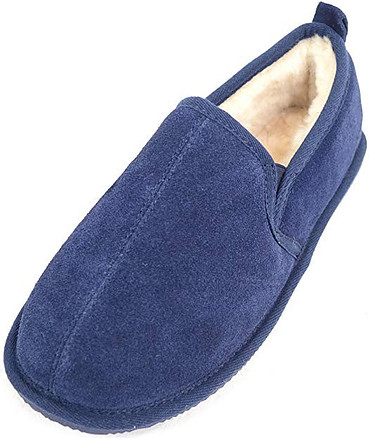 SNUGRUGS Men's Sheepskin Low-Top Slipper with Rubber Sole
