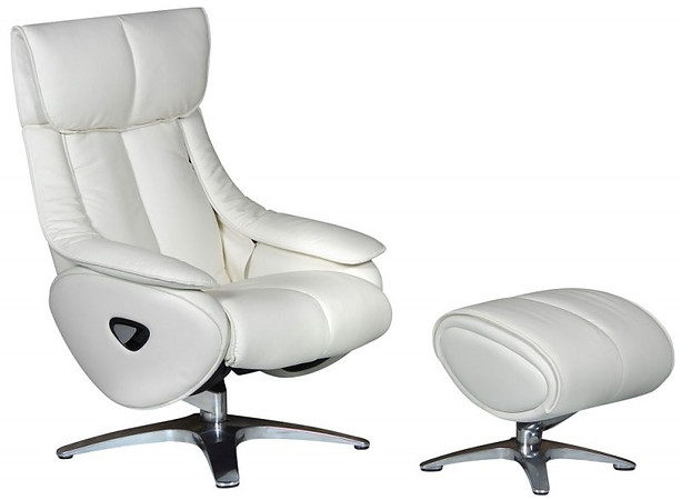 GFA Leather Swivel Recliner Chair & Footstool In White With Chrome