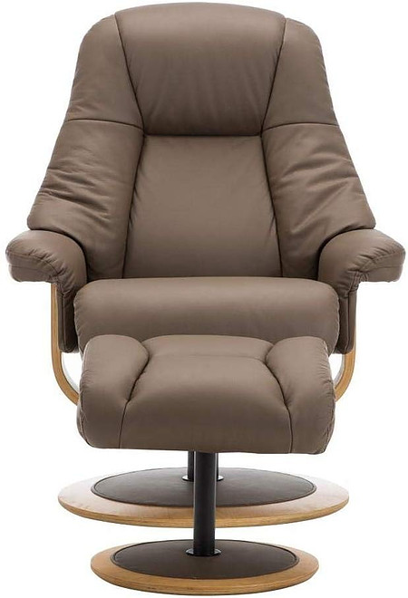 GFA Premium Jersey Leather Match Swivel Recliner Chair In Truffle Finish