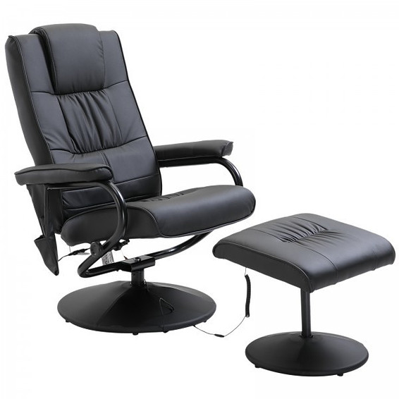 HOMCOM Executive Recliner Chair High Back Swivel Armchair Lounge Seat with Footstool