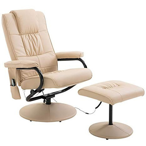 Homcom Faux Leather Massage Recliner Chair Easy Sofa Armchair Beauty Couch Bed with Cream Foot Stool