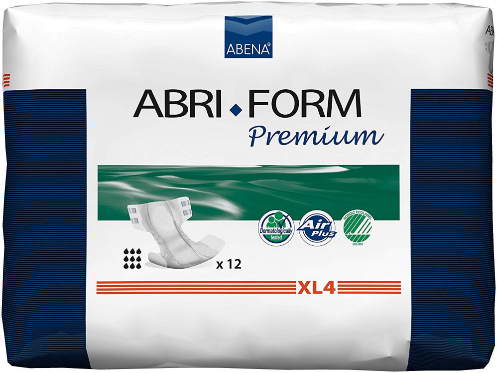 Abena Abri-Form Premium All-In-One Incontinence Pad, X-Large 4 (Hip/Waist Size 110-170 cm) 4000 ml Absorbency, Pack of 12